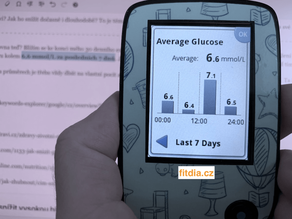 Průměrná hodnota glykémie za 7 dnů - Senzor FSL